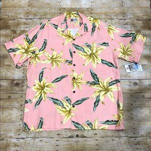Hilo Hattie Pink Floral Aloha Hawaiian  Shirt 2XL